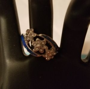 White Topaz with Blue Opal inlay size 7